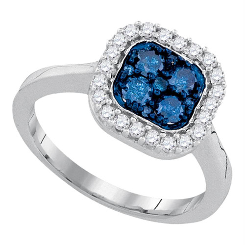 10kt White Gold Womens Round Blue Color Enhanced Diamond Square Frame Cluster Ring 3/4 Cttw