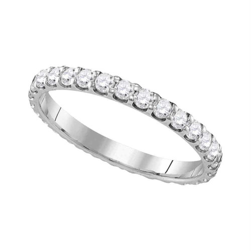 10k White Gold Womens Round Diamond Eternity Bridal Wedding Anniversary Ring Band 1.00 Cttw