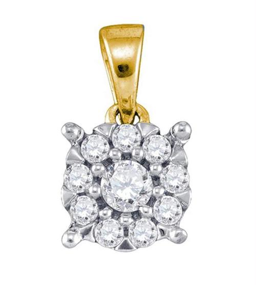 10kt Yellow Gold Womens Round Diamond Flower Cluster Pendant 1/4 Cttw