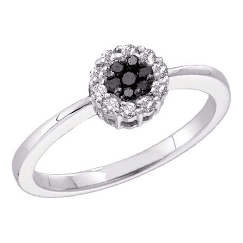 14kt White Gold Womens Round Black Color Enhanced Diamond Slender Flower Cluster Ring 1/4 Cttw