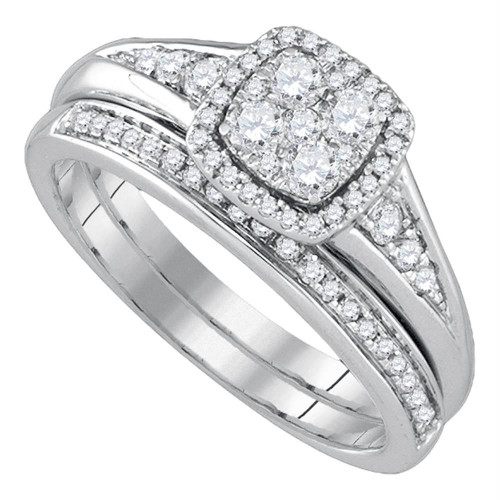 14kt White Gold Womens Round Diamond Halo Bridal Wedding Engagement Ring Band Set 5/8 Cttw
