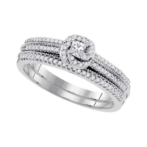 10k White Gold Princess Diamond Bridal Wedding Engagement Ring Band Set 1/3 Cttw - 98604-10.5
