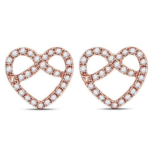 10kt Rose Gold Womens Round Diamond Pretzel Heart Stud Earrings 1/6 Cttw