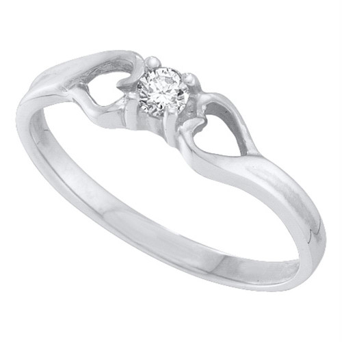 10kt White Gold Womens Round Diamond Solitaire Heart Promise Bridal Ring 1/10 Cttw