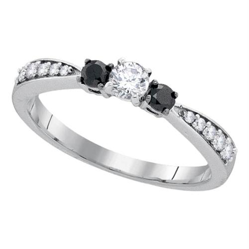 10kt White Gold Womens Round Diamond 3-stone Tapered Bridal Wedding Engagement Ring 3/8 Cttw