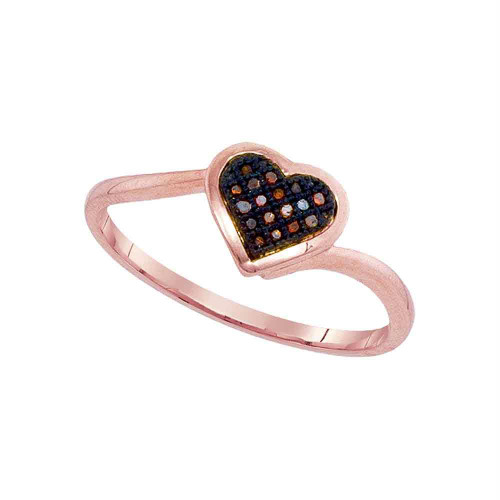 10kt Rose Gold Womens Round Red Color Enhanced Diamond Heart Love Cluster Ring 1/20 Cttw
