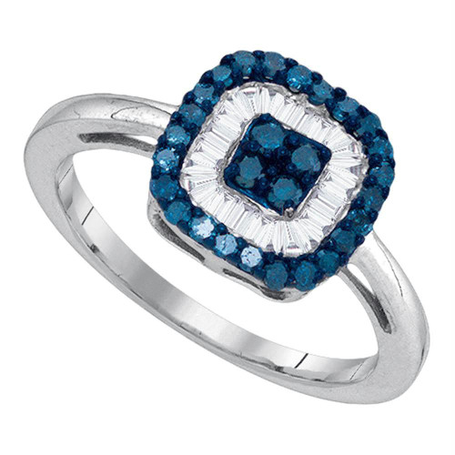 10kt White Gold Womens Round Blue Color Enhanced Diamond Concentric Square Cluster Ring 3/8 Cttw