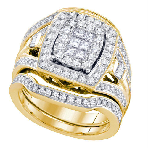 14kt Yellow Gold Womens Diamond Cluster Bridal Wedding Engagement Ring Band Set 1-1/2 Cttw