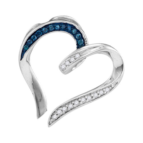 Sterling Silver Womens Round Blue Color Enhanced Diamond Bisected Heart Pendant 1/10 Cttw