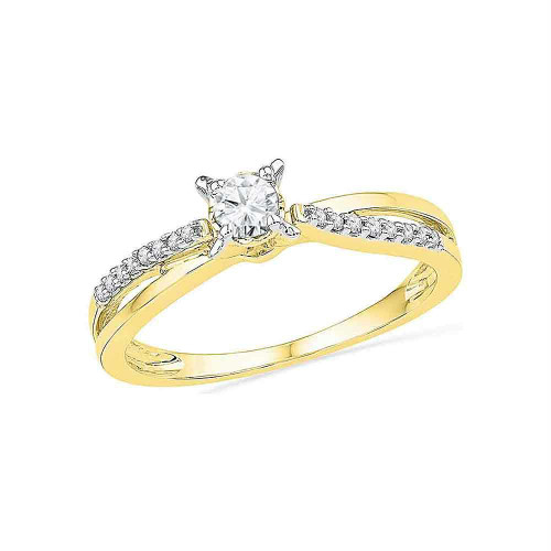 10kt Yellow Gold Womens Round Diamond Solitaire Crossover Promise Bridal Ring 1/4 Cttw - 100421-6.5