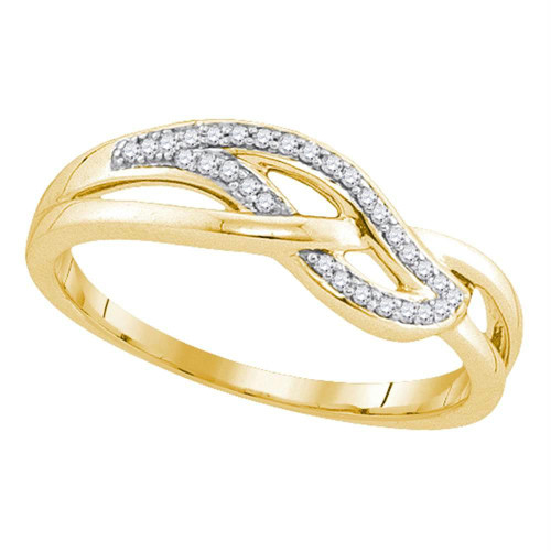 10kt Yellow Gold Womens Round Diamond Woven Strand Band Ring 1/10 Cttw