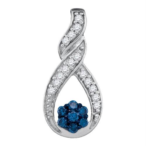 10kt White Gold Womens Round Blue Color Enhanced Diamond Cradled Cluster Pendant 1/4 Cttw