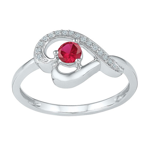Sterling Silver Womens Round Lab-Created Ruby Diamond Heart Ring 3/8 Cttw