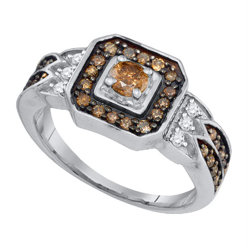 10K White Gold Enhance Cognac Brown Diamond Bridal Wedding Engagement Ring 5/8CT