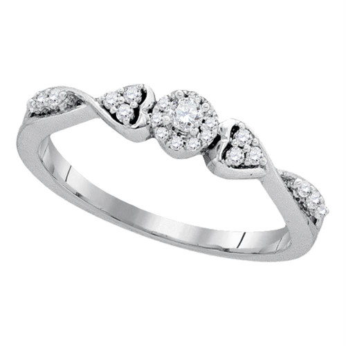 10kt White Gold Womens Round Diamond Cluster Promise Bridal Ring 1/5 Cttw