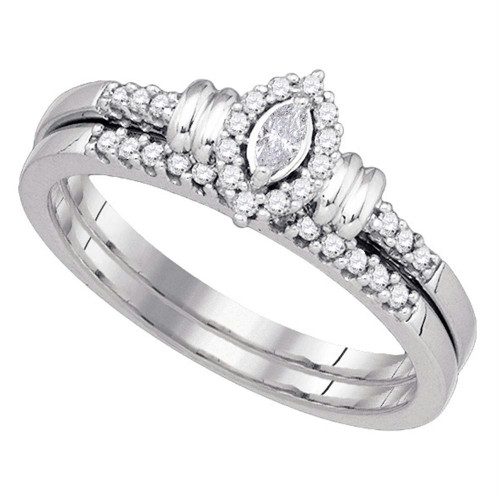 10k White Gold Womens Marquise Diamond Bridal Wedding Engagement Ring Band Set 1/5 Cttw