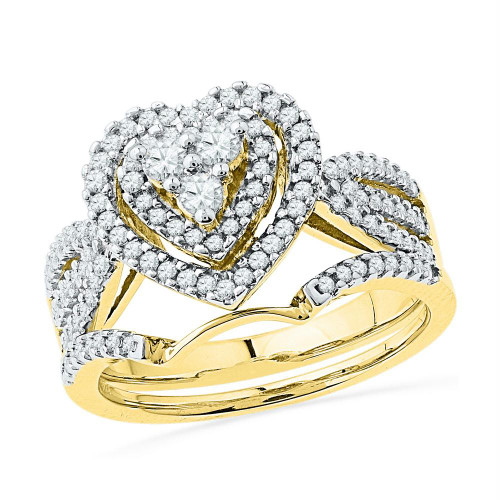 10kt Yellow Gold Womens Round Diamond Heart Bridal Wedding Engagement Ring Band Set 5/8 Cttw