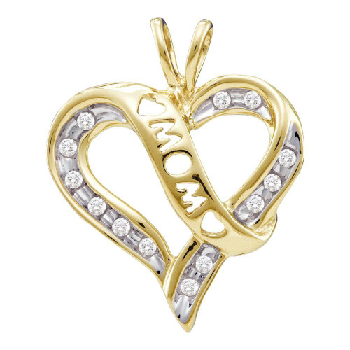 10k Yellow Gold Round Diamond Mom Mothers Heart Love Pendant 1/8 Cttw