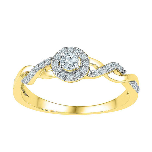 10kt Yellow Gold Womens Round Diamond Solitaire Bridal Wedding Engagement Ring 1/5 Cttw - 109637-9