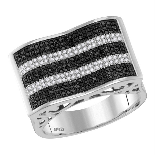 10kt White Gold Mens Round Black Color Enhanced Diamond Rectangle Stripe Cluster Ring 7/8 Cttw