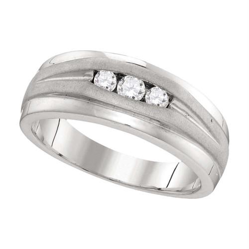 10kt White Gold Mens Round Diamond Wedding Band Ring 1/4 Cttw - 110185-8
