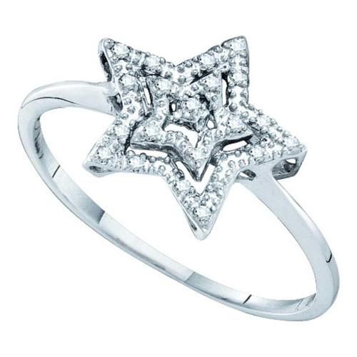 10kt White Gold Womens Round Diamond Star Ring 1/20 Cttw