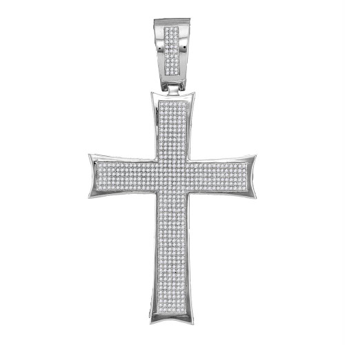 10kt White Gold Mens Round Diamond Flared Pattee Cross Charm Pendant 1-1/2 Cttw