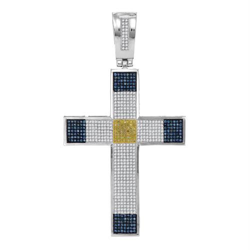 10kt White Gold Mens Round Blue & Yellow Color Enhanced Diamond Roman Cross Religious Charm Pendant 1-3/4 Cttw