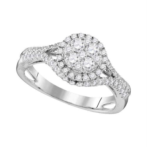 10kt White Gold Womens Round Diamond Cluster Bridal Wedding Engagement Ring 1.00 Cttw
