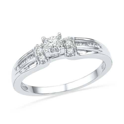10kt White Gold Womens Round Diamond Solitaire Promise Bridal Ring 1/5 Cttw - 100729-8