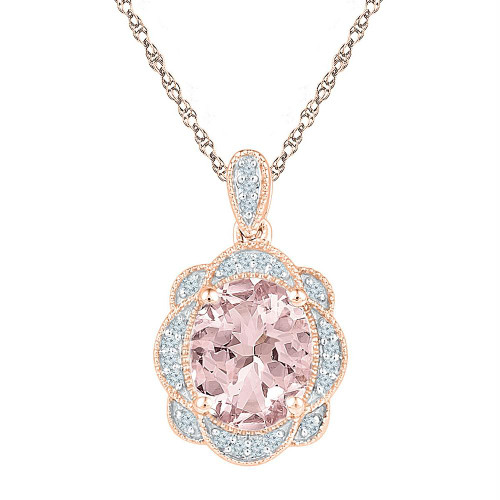 10kt Rose Gold Womens Oval Lab-Created Morganite Oval Diamond Pendant 2.00 Cttw