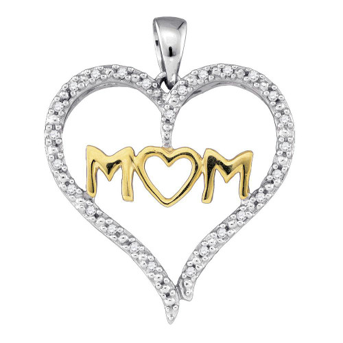 10kt Two-tone Gold Womens Round Diamond Mom Mother Heart Pendant 1/12 Cttw