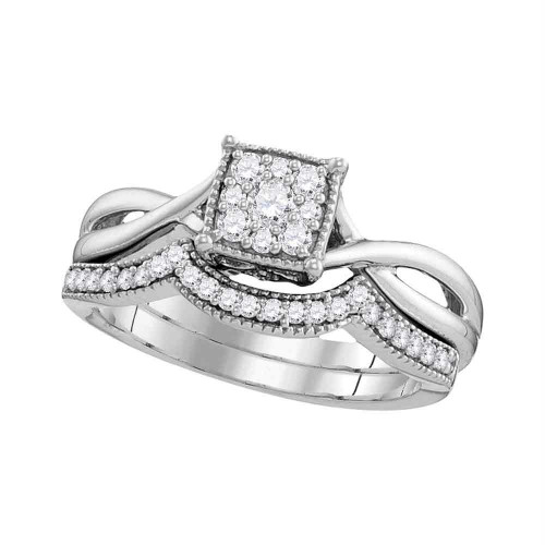 10k White Gold Womens Diamond Flower Cluster Bridal Wedding Engagement Ring Band Set 1/3 Cttw
