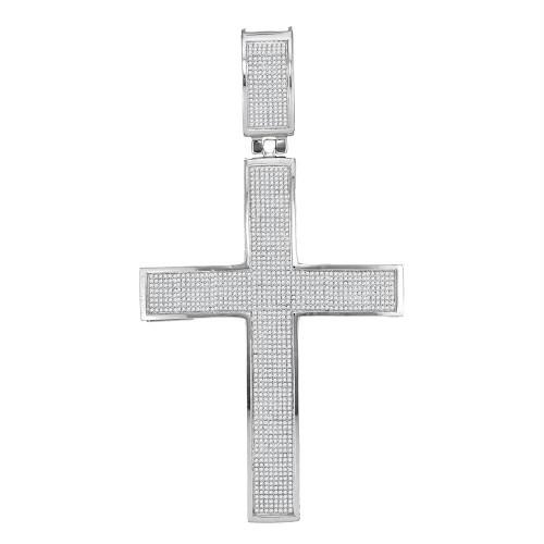 10kt White Gold Mens Round Diamond Christian Roman Cross Charm Pendant 1-7/8 Cttw