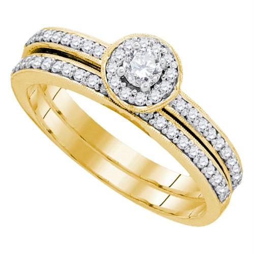 10kt Yellow Gold Womens Round Diamond Bridal Wedding Engagement Ring Band Set 1/2 Cttw