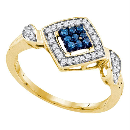 10kt Yellow Gold Womens Round Blue Color Enhanced Diamond Diagonal Square Cluster Ring 1/4 Cttw