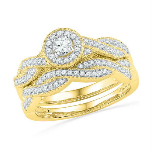 10kt Yellow Gold Womens Round Diamond Twist Bridal Wedding Engagement Ring Band Set 1/2 Cttw