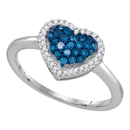 10k White Gold Womens Blue Color Enhanced Diamond Heart Love Cluster Anniversary Ring 1/3 Cttw