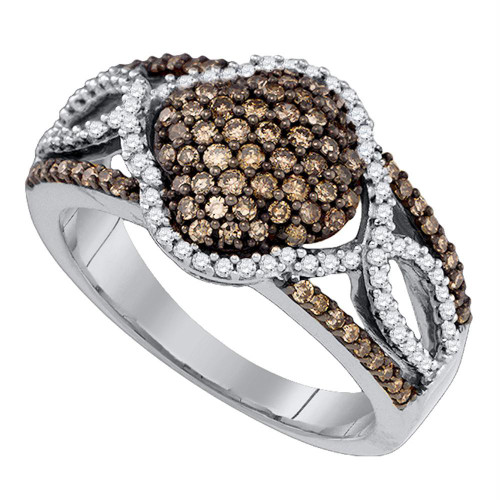 10kt White Gold Womens Round Cognac-brown Color Enhanced Diamond Quadrefoil Cluster Ring 5/8 Cttw