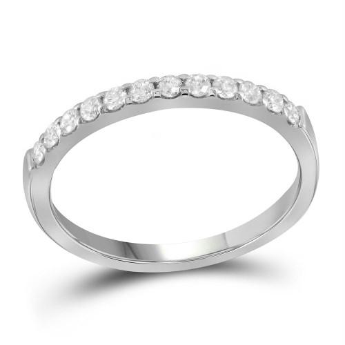 14kt White Gold Womens Round Pave-set Diamond Single Row Wedding Band 1/4 Cttw - 99847-8.5