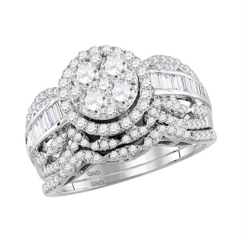 14kt White Gold Womens Round Diamond Cluster Halo Bridal Wedding Engagement Ring Band Set 1-3/8 Cttw