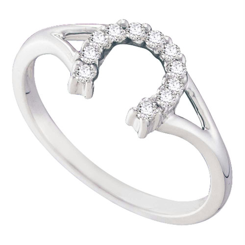 10kt White Gold Womens Round Diamond Lucky Horseshoe Split-shank Ring 1/10 Cttw