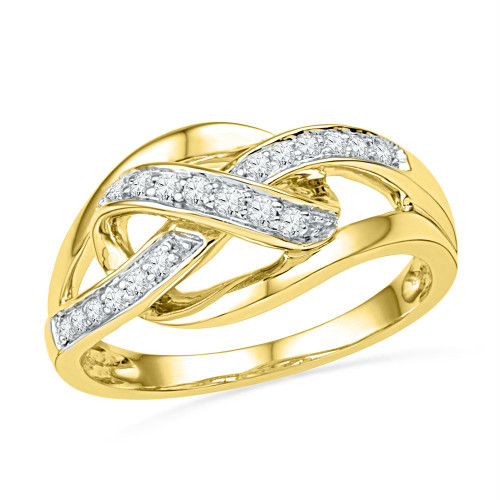10kt Yellow Gold Womens Round Diamond Woven Strand Band Ring 1/5 Cttw