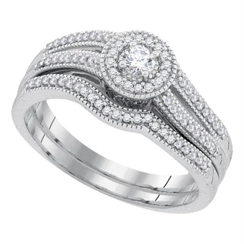 10k White Gold Womens Round Diamond Halo Bridal Wedding Engagement Ring Band Set 1/3 Cttw