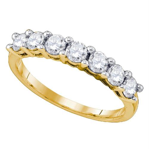 10kt Yellow Gold Womens Round Diamond Wedding Band Ring 1.00 Cttw - 77639-5.5