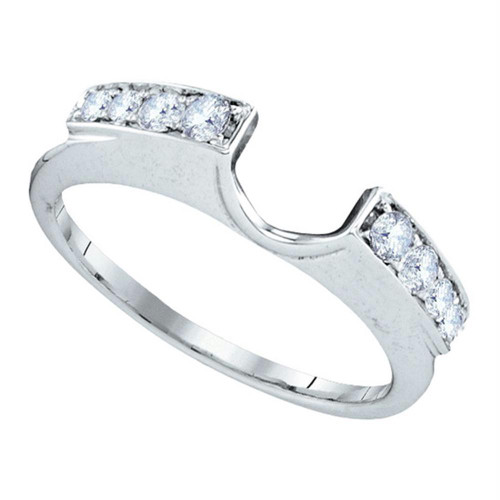 14kt White Gold Womens Round Diamond Ring Guard Wrap Solitaire Enhancer 1/4 Cttw - 99923-9.5