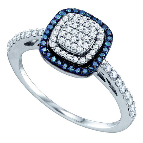 10k White Gold Womens Blue Color Enhanced Diamond Square-shape Cluster Ring 3/8 Cttw