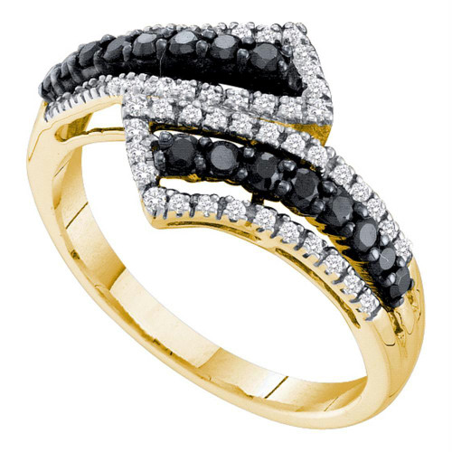 14kt Yellow Gold Womens Round Black Color Enhanced Diamond Bypass Band Ring 1/2 Cttw