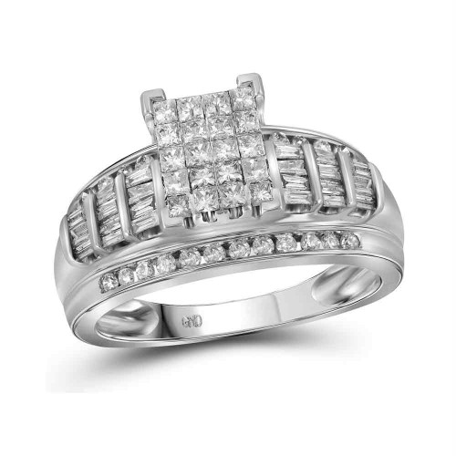 10kt White Gold Womens Princess Diamond Cluster Bridal Wedding Engagement Ring 1.00 Cttw - Size 10
