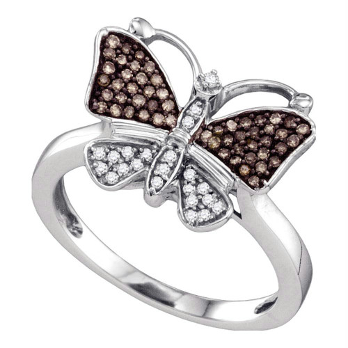 10k White Gold Womens Cognac-brown Color Enhanced Round Diamond Cluster Butterfly Bug Ring 1/5 Cttw